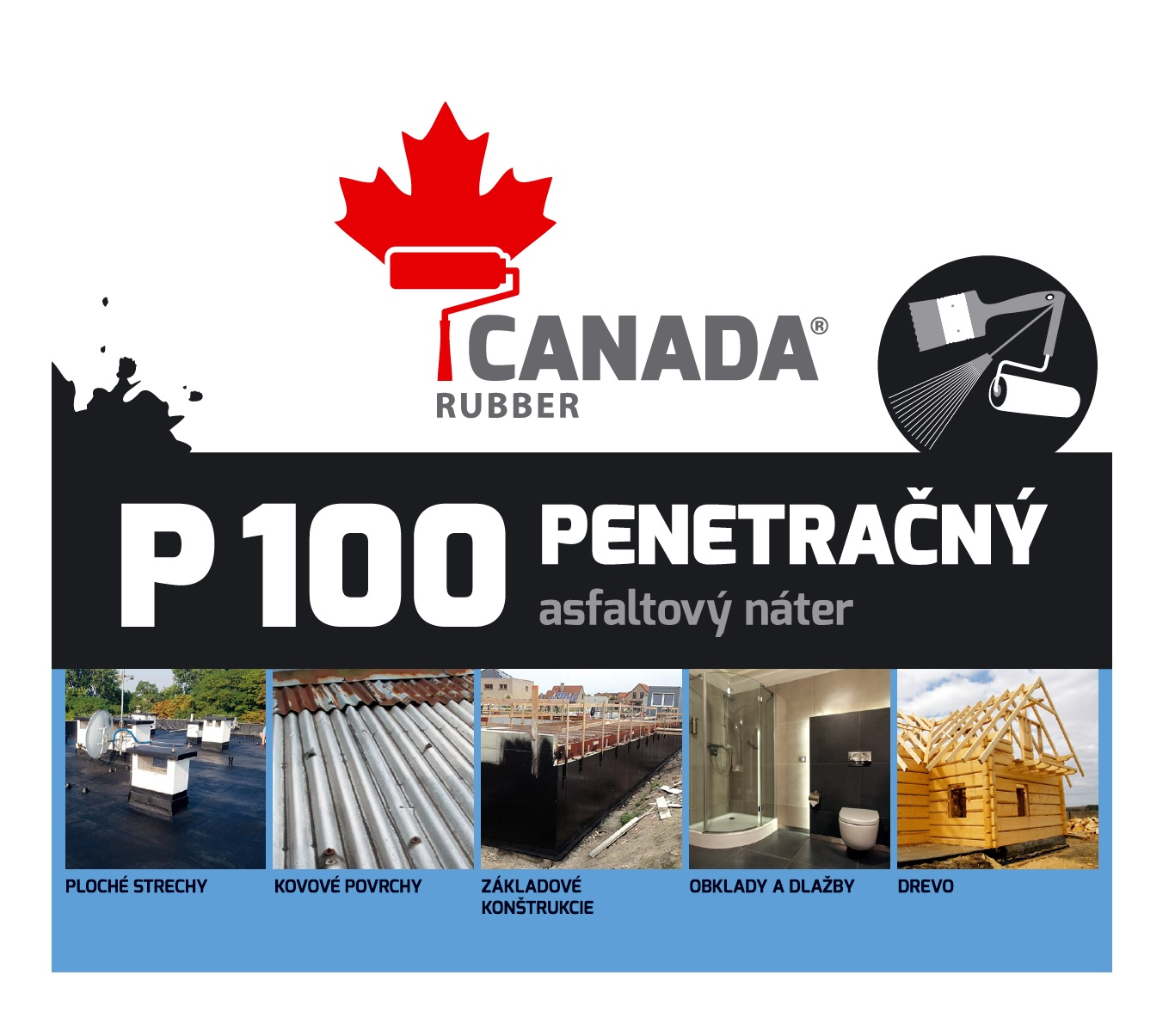 Canada Rubber P100 penetrácia Hnedočierna,5kg