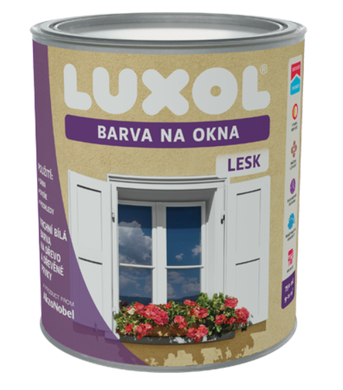 DULUX Luxol farba na okná Lesk biela,2,5L